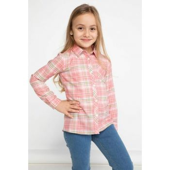 Pink Young Girl Sequin Silvery Badge Detailed Shirt K0652A6.19SP.PN113