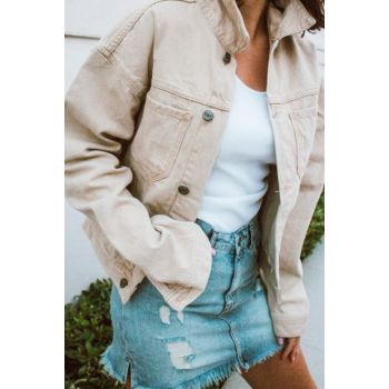 Women's Beige Denim Jacket CC1010S