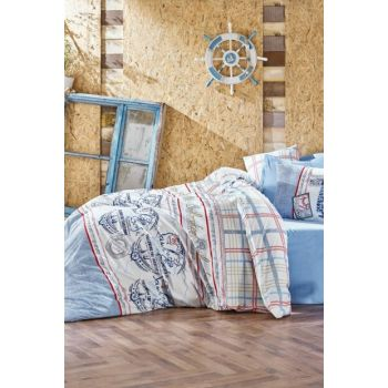 Cotton Box Maritime Single Duvet Cover Set - Seaport Blue CTN-Rf-TK-NT-Seaport Blue