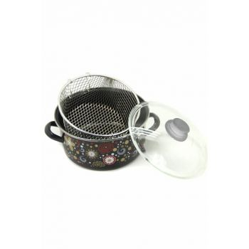 Essan Patterned Glass Cover Strainer Enamel 24cm Chips Fryer Frying 4105_329373576