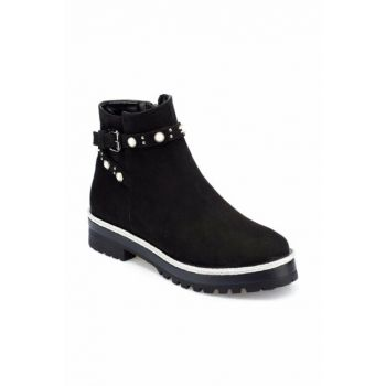 Women's Genuine Leather Black Boots 000000000100335231