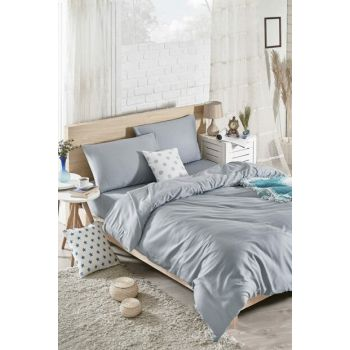 100% Natural Cotton Double Duvet Cover Set Solid Color O.Grey Yt148 Ep-020553