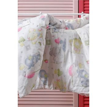 Little Elephants Cotton Baby Duvet Cover Set 100x150 Cm Pink 10025271