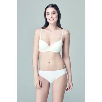 Women's Ecru Empty Cup Disposable Bra With Ear B0169030