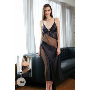 Women's Black Satin Nightgown MSD-1409