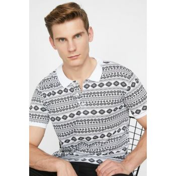 Men's Black Patterned T-Shirt 9YAM11173LK