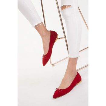 Red Suede Women Flats 12890