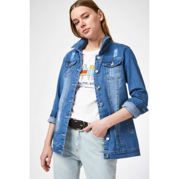 Women's Dark Blue Denim Jacket with Pockets 0613BGD19_131