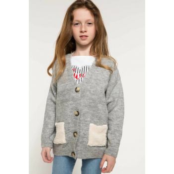 Gray Girl Tricot Cardigan with Button Detail I7416A6.18AU.GR158