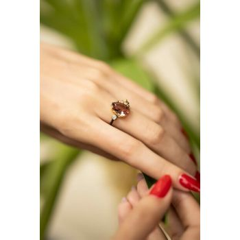 Women's Tumbled Drop Pattern Zircon and Zultanite Sterling Silver Ring PKT-İZLASLVR00230