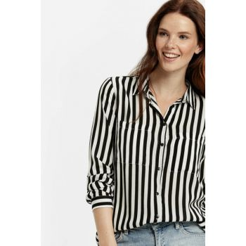 Women's Black Striped Shirt 8WH416Z8