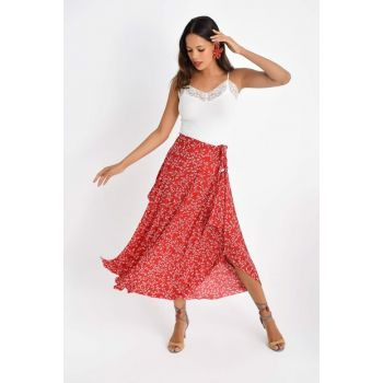 Women's Red Asymmetrical Skirt LV90