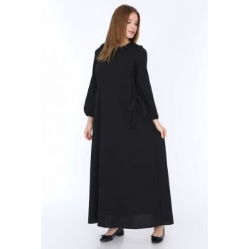 Women's Black Side-tied Dress 5261