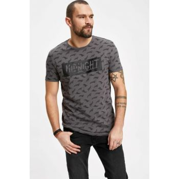 Men's Gray Printed Slim Fit Short Sleeve T-shirt K1623AZ.19SP.GR310