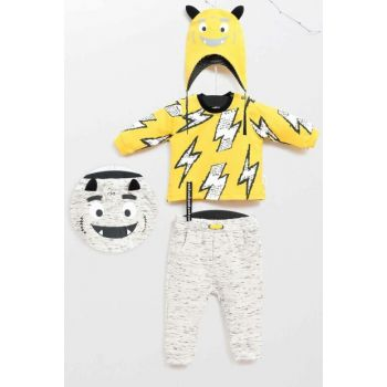 Lemon Yellow Baby Boy Bottom Top Hat 3 Piece Suit WG5336