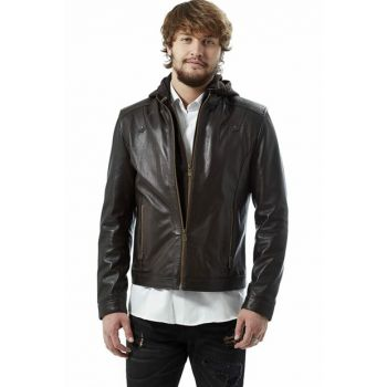 Men's Coffee Leather Jacket 3054
