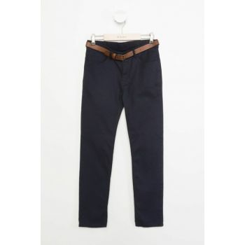 Navy Blue Young Man Belt Slim Fit Trousers J6345A6.18WN.NV64