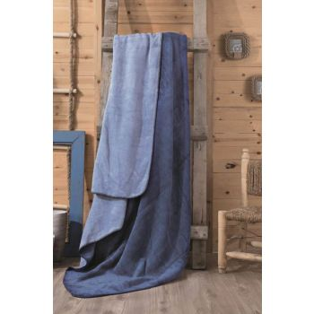 Cotton Box Double Cotton Blankets Blue-Blue CTN-BTNY-PMK-BLUE-BLUE