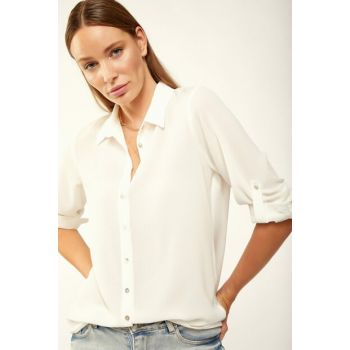 Women's White Collar Shirt DD00127