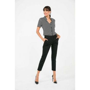 Women Pockets Washed Cotton Satin Lycra Trousers Black S-19Y3240005