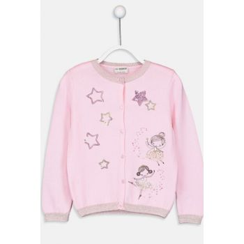 Girl's Pink Cardigan with Belt 9W1856Z4