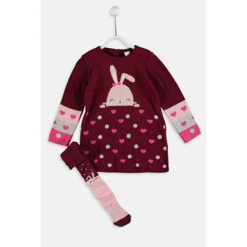 Baby Girl Knitwear Dress And Pantyhose 9W6127Z1