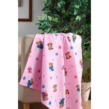 100% Cotton Baby Blanket with Pink Bear 153-99-000010