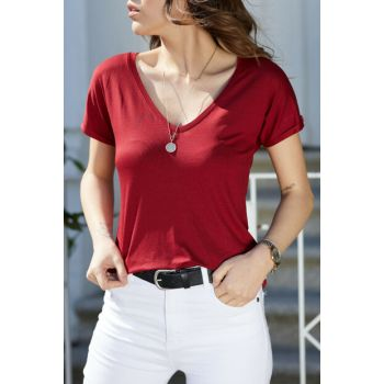 Women's Burgundy V Neck Basic T-Shirt 9KXK2-40572-05