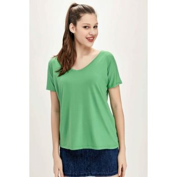 Women's Green V-Neck Print T-Shirt ALC-1045-AN