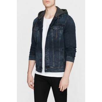 Men's Brandon Vintage Hooded Jean Jacket 0167926983