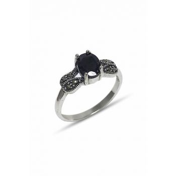 Women's Black Sterling Silver Marcasite Ring 2020241A
