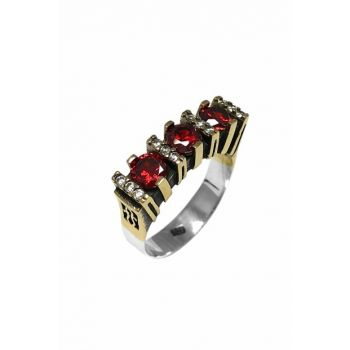Women's Red Three Stone Authentic Sterling Silver Ring 2020559