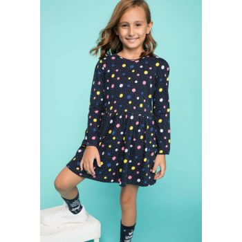Navy Blue Girls Children Polka Dot Printed Dress K2332A6.18AU.NV167