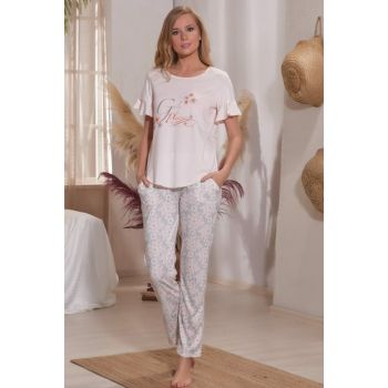 Women's Powder Printed Sleepwear Suit 11298