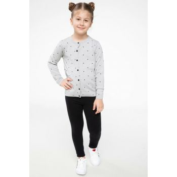 Gray Girl Knitted Cardigan with Buttons I4586A6.18WN.GR158