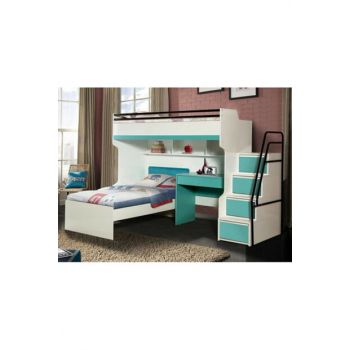 Bueno Bunk bed Bedside table Turquoise 131