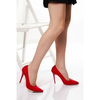 Red Suede Women Heels DTY1701