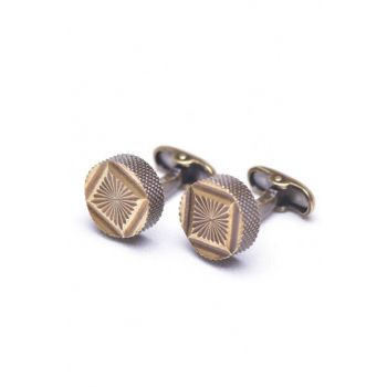 Brown Round Cufflinks KD668 KRVT8690002220575