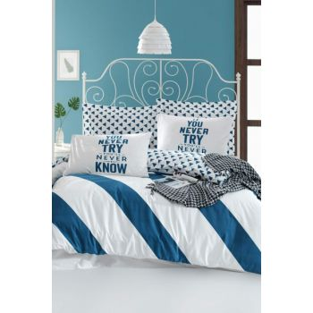 100% Natural Cotton Single Bed Linen Set Erona Blue Ep-018810