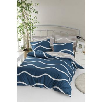 100% Natural Cotton Double Duvet Cover Set Novia Blue Ep-019341