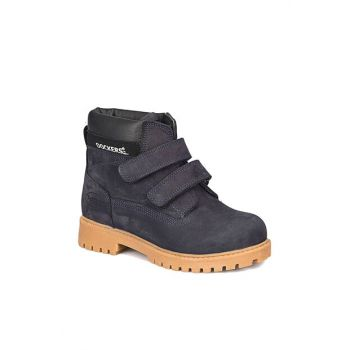 Navy Blue Boy Leather Worker Boots 219865