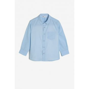 Blue Unisex Children Classic Collar Shirt 0KKB66158OW