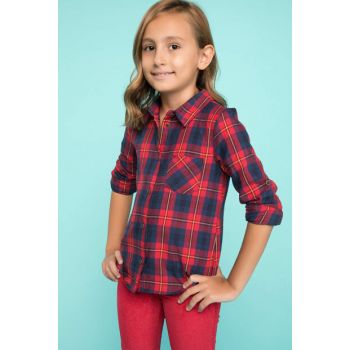Red Girl's Plaid Shirt with Pockets J4994A6.18AU.RD286
