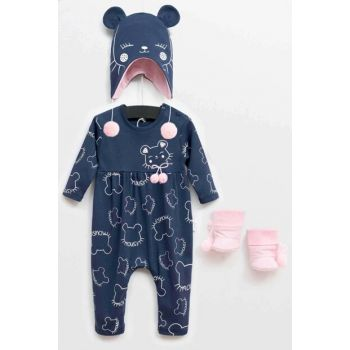 Wogi Baby Girl Jumpsuit Hat Booties 3-Piece Set 3-18 Months 5361 WG5361