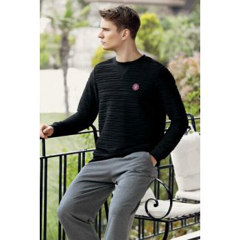 Men's Black Jacquard Sleepwear Set MEP24502-1 TMEP24502