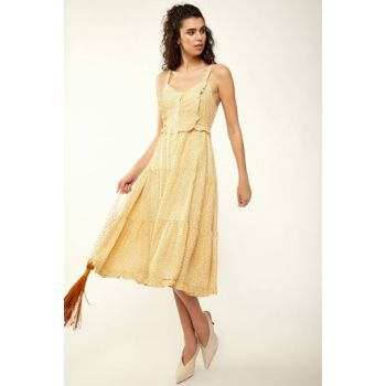Women's Yellow Strap Buttoned Viscose Dress FN01447