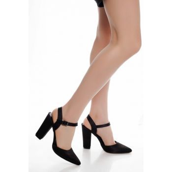 Black Satin Women Heels Shoes DTY1626