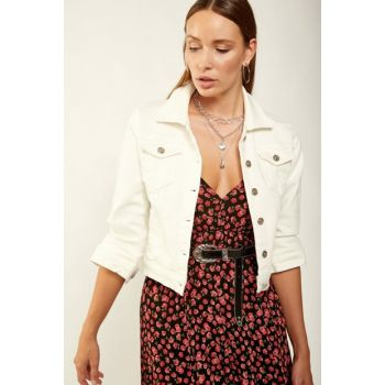 Women's White Denim Jacket 06 DD00090