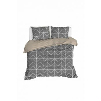 100% Natural Cotton Double Duvet Cover Set Gina Anthracite Ep-020242