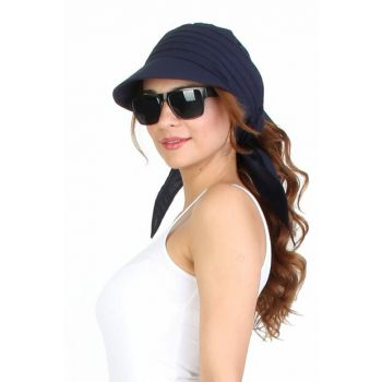 Cotton Women's Hat with Navy Blue WEC99542